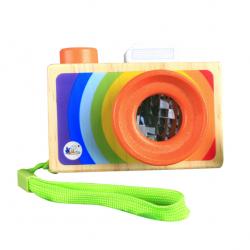 Дървен цветен фотоапарат с...